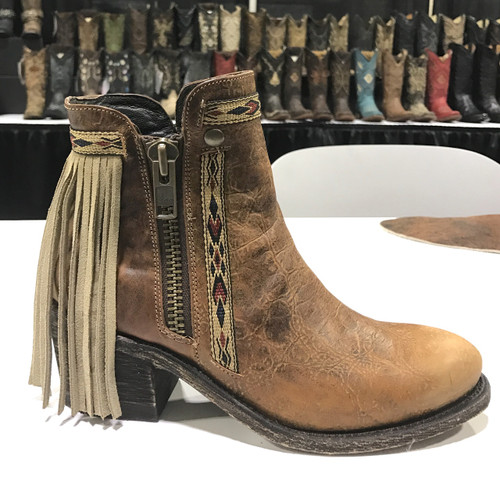 Corral Brown Fringes J Toe Ankle Boot E1215 Picture
