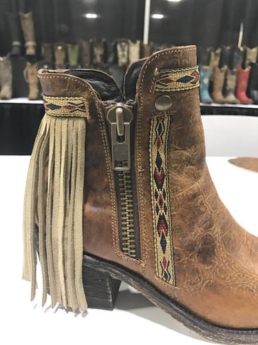 Corral Brown Fringes J Toe Ankle Boot E1215 Zipper