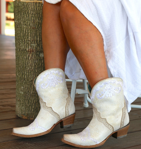 Corral Bone Embroidery and Swarovski Ankle Boot C3188 Side
