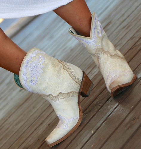 Corral Bone Embroidery and Swarovski Ankle Boot C3188 Detail