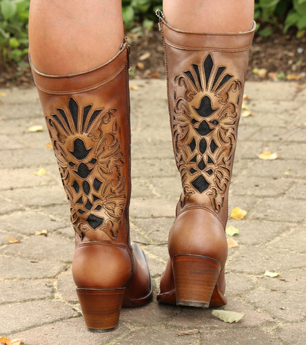 Corral Honey Laser Inlay Embroidery Boot C3148  Heel