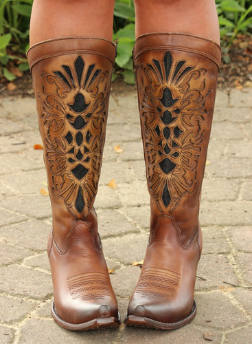Corral Honey Laser Inlay Embroidery Boot C3148  Toe