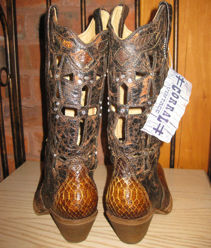 Corral Musgo Python Cross Boot Back Picture