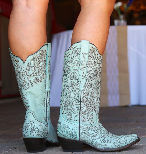 Corral Turquoise Embroidery Boot G1387 Heel