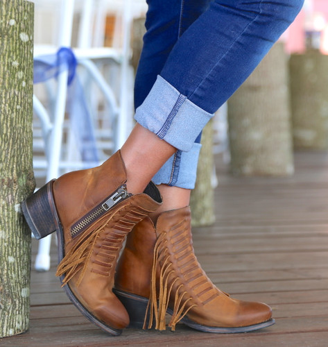 Corral Brown Fringes Ankle Boot E1227 Picture