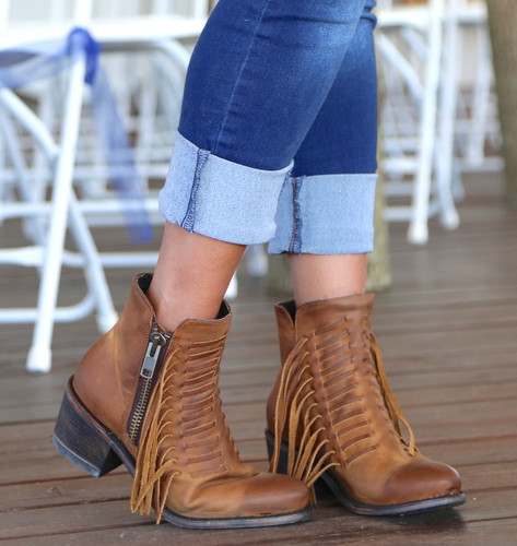 Corral Brown Fringes Ankle Boot E1227 Image