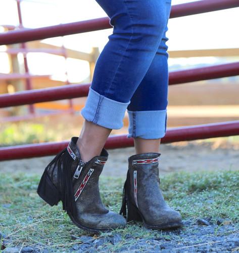 Corral Black Fringes J Toe Ankle Boot E1222 Toe