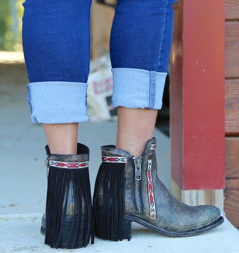 Corral Black Fringes J Toe Ankle Boot E1222 Heel