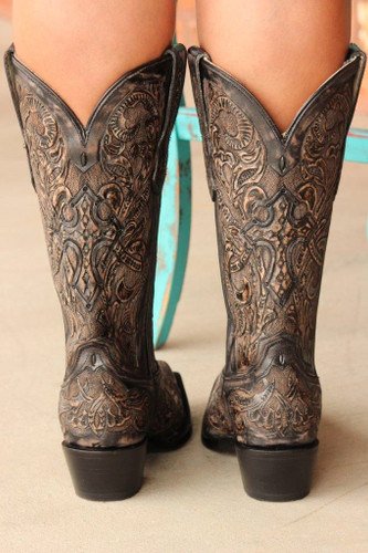 Corral Black Tooled Boot G1385 Back Picture