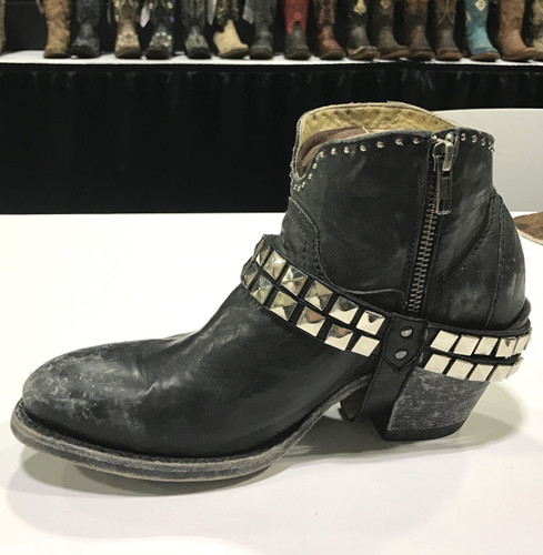 Corral Black Studs and Harness Ankle Boot G1399 Image