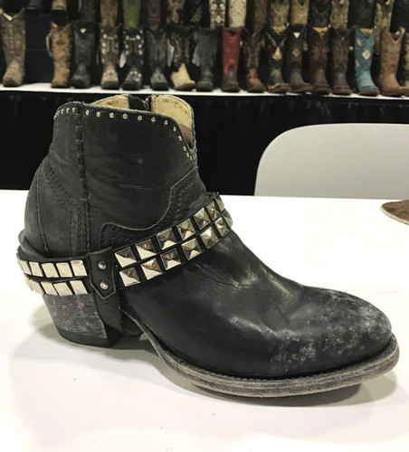 Corral Black Studs and Harness Ankle Boot G1399 Picture