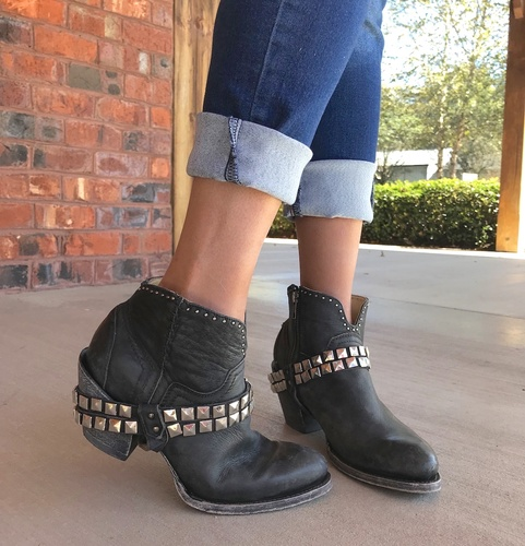 Corral Black Studs and Harness Ankle Boot G1399 Photo