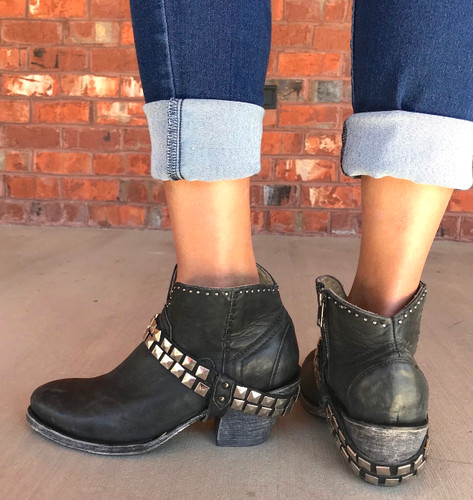 Corral Black Studs and Harness Ankle Boot G1399 Back