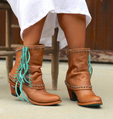 Lane Hoodie Shortie Tan Boots LB0361A Fringe
