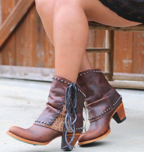 Lane Hoodie Shortie Cheetah Print Trim and Lace Boots LB0361B Image