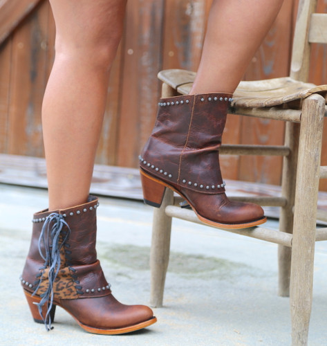 Lane Hoodie Shortie Cheetah Print Trim and Lace Boots LB0361B Photo