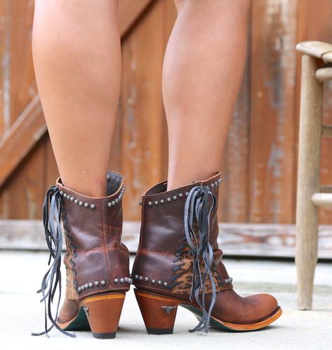 Lane Hoodie Shortie Cheetah Print Trim and Lace Boots LB0361B Heel