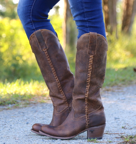 Lane Plain Jane Brown Boots LB0350A Braiding