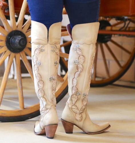 Junk Gypsy by Lane Cactus Knee High in Tonal Cream Boots JG0041C Heel