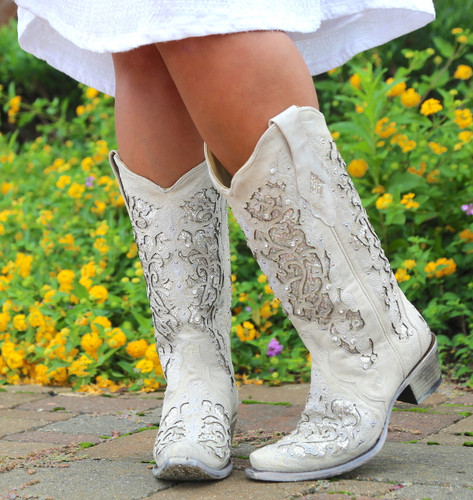 Corral White Glitter Inlay and Crystals Boots A3322 Picture