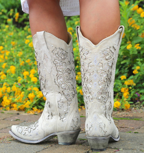 Corral White Glitter Inlay and Crystals Boots A3322 Heel