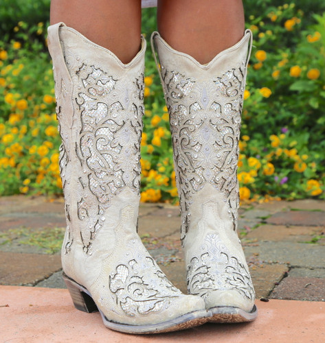 Corral White Glitter Inlay and Crystals Boots A3322 Front
