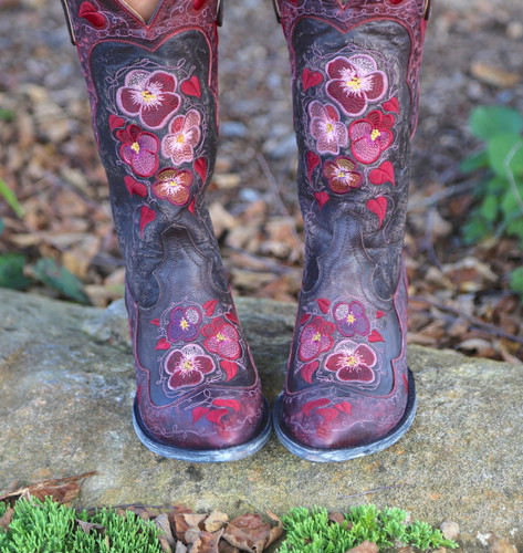 Old Gringo Pansy Chocolate Boots L2621-1 Embroidery