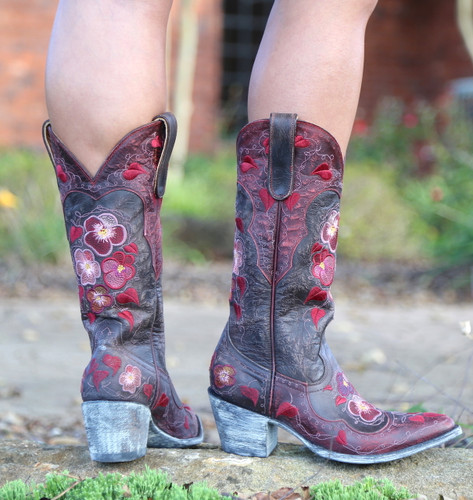 Old Gringo Pansy Chocolate Boots L2621-1 Heel