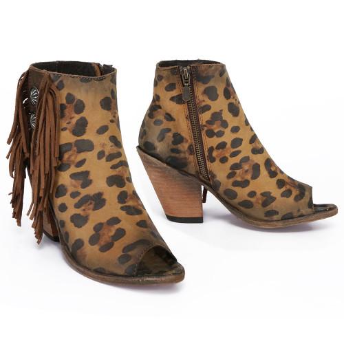 Liberty Black Chita Miel Concho Fringe Peep Toe Boots LB712807 Picture