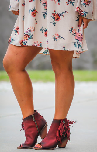 Liberty Black Rojo Concho Fringe Peep Toe Boots LB712807 Picture