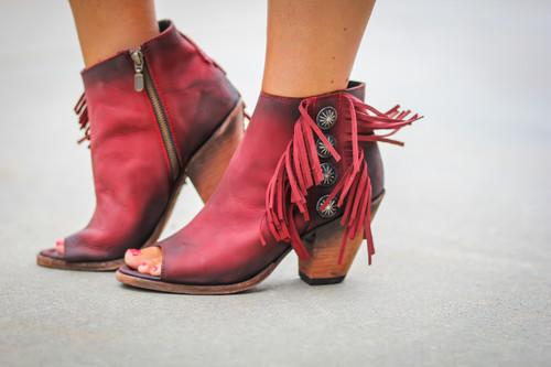 Liberty Black Rojo Concho Fringe Peep Toe Boots LB712807 Image