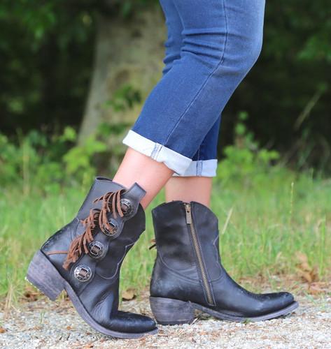 Liberty Black Concho Fringe Shortie Negro Boots LB711158 Picture
