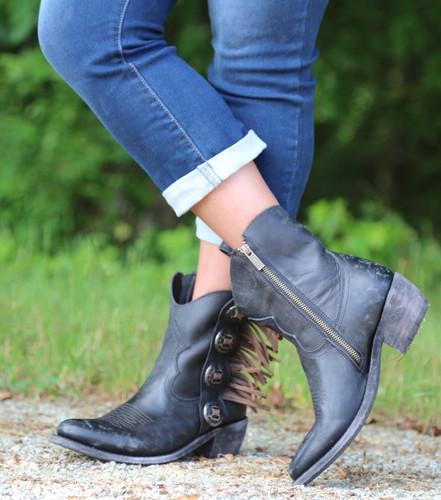 Liberty Black Concho Fringe Shortie Negro Boots LB711158 Zipper