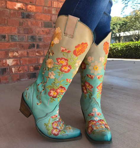 Corral Turquoise Orange Floral Embroidery Boots C3304 Toe