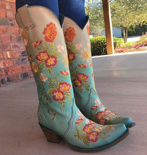Corral Turquoise Orange Floral Embroidery Boots C3304 Photo