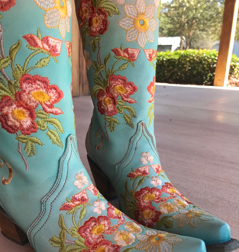 Corral Turquoise Orange Floral Embroidery Boots C3304 Detail