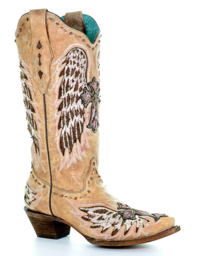 Corral Sand Fish Wings and Cross Inlay Boots A3494 Picture
