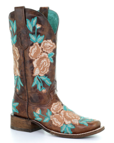 Corral Chocolate Floral Embroidery Square Toe Boots A3527 Picture