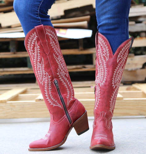 Corral Red Embroidery Tall Top Boots E1318 Zipper