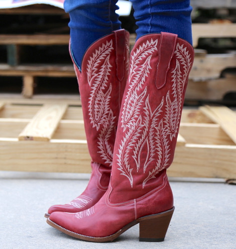 Corral Red Embroidery Tall Top Boots E1318 Side