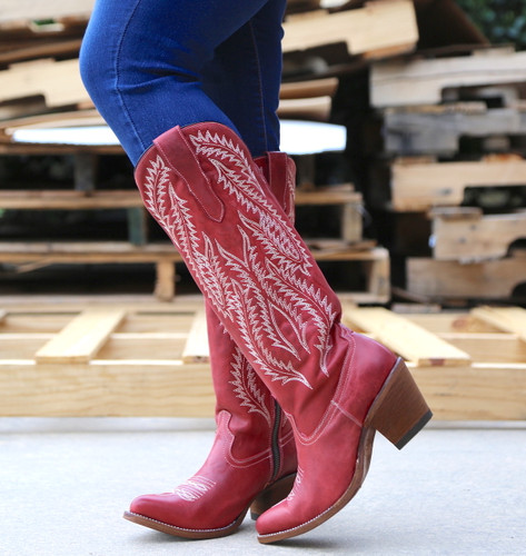 Corral Red Embroidery Tall Top Boots E1318 Photo