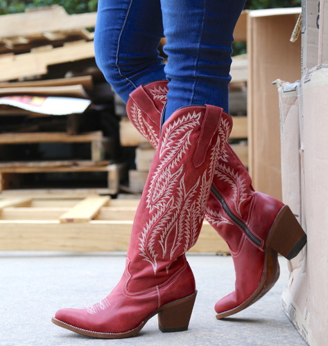 Corral Red Embroidery Tall Top Boots E1318 Image