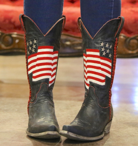 Old Gringo Eleanor Blue Beaded Flag Boots L2961-1 Toe