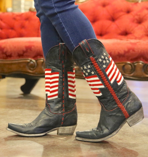Old Gringo Eleanor Blue Beaded Flag Boots L2961-1 Walk
