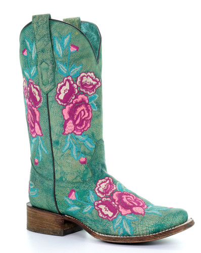 Corral Turquoise Cowhide Floral Embroidery Square Toe A3492 Picture