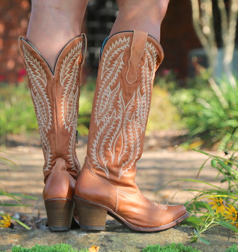 Corral Cognac Embroidery Tall Top Boots E1319 Heel
