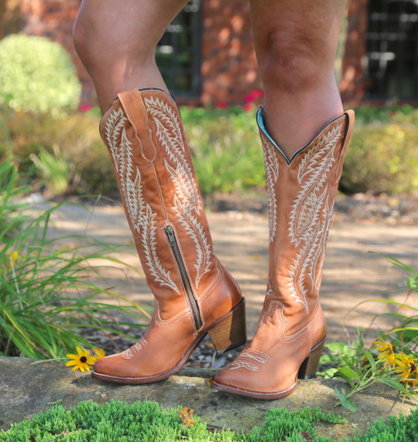 Corral Cognac Embroidery Tall Top Boots E1319 Photo