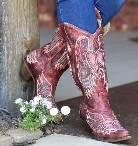 Corral Red Wings and Heart Inlay Boots A3409 Picture