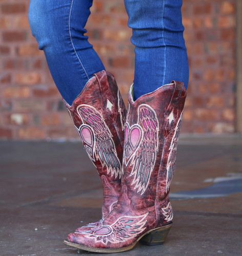 Corral Red Wings and Heart Inlay Boots A3409 Photo