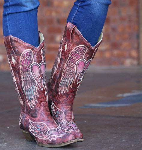 Corral Red Wings and Heart Inlay Boots A3409 Image